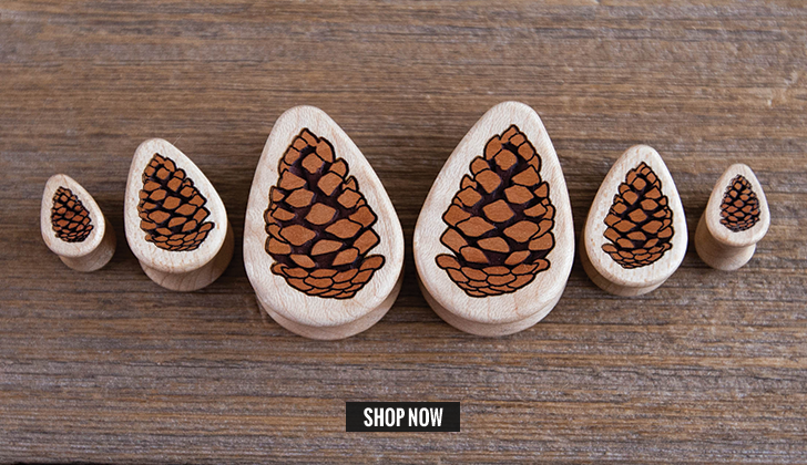 Curly Maple Pinecone Teardrop Plugs