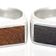 Silver Wood Top Rings