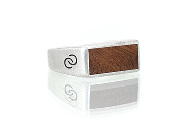 Amboyna Burl Silver Wood Top Rings