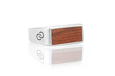 Bloodwood Silver Wood Top Rings