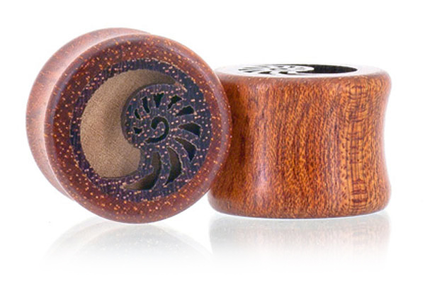 Nautilus Shell Bloodwood Plugs