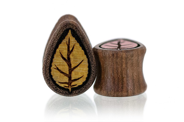 Pink Ivory and Osage Autumn Leaf Teardrop Plugs