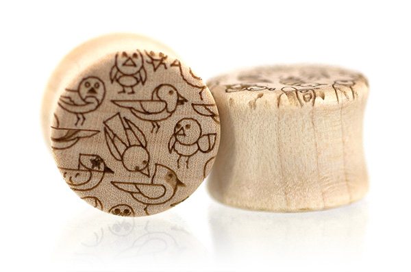 Curly Maple Birds and Bees Plugs