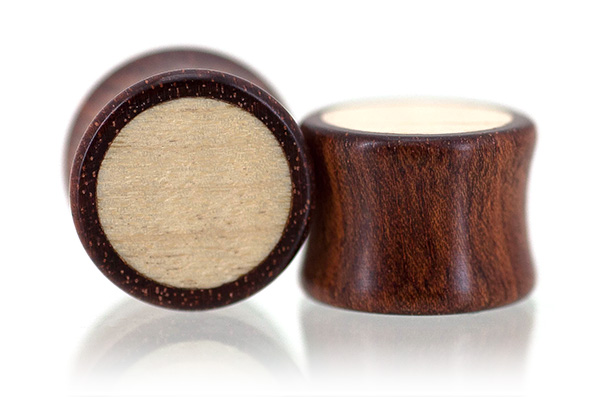 Bloodwood / Curly Maple Inlay Plugs