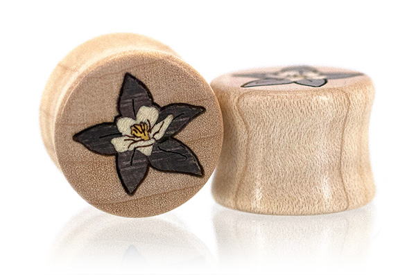 Curly Maple Blue Star Columbine Plugs