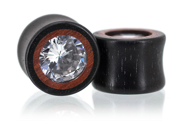 Ebony / Bloodwood Clear CZ Plugs