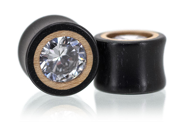 Ebony / Maple Clear CZ Plugs