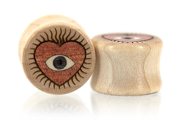 Curly Maple Eye Heart You Plugs