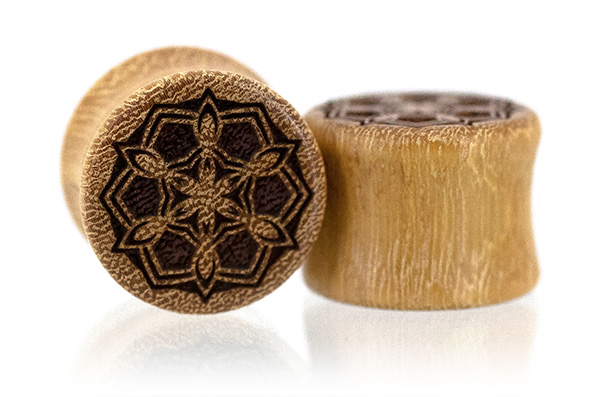 Osage Orange Geometric Snowflake Plugs