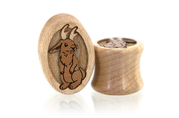 Curly Maple Jackalope Ovals Plugs