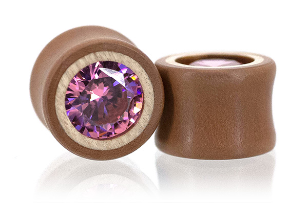 Swiss Pear / Curly Maple Pink CZ Plugs