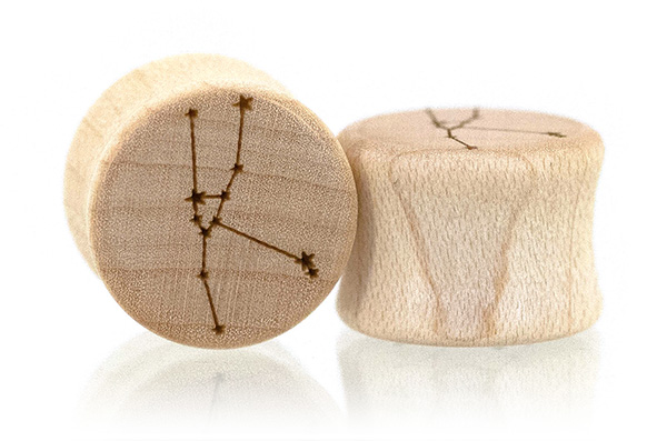 Curly Maple Zodiac Constellation Plugs