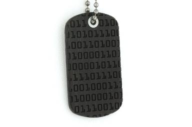 Binary Code Dog Tag - Gaboon Ebony