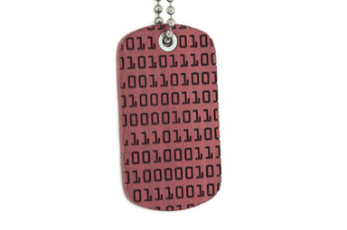 Binary Code Dog Tag - Pink Ivory