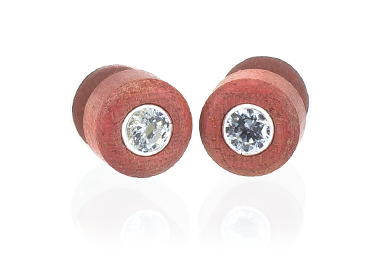 Cz Stud Earrings - Pink Ivory
