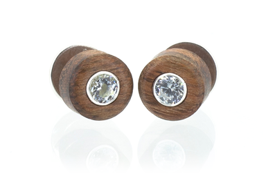 Cz Stud Earrings - Walnut