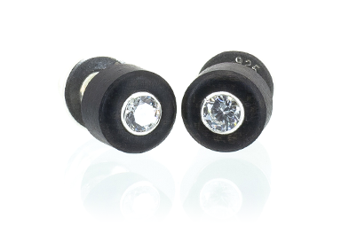 Cz Stud Earrings - Ebony