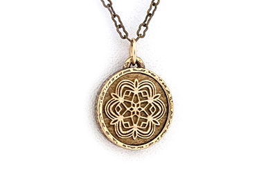 Curly Maple Geometric Snowflake Amulet