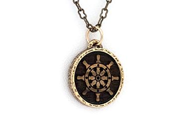 Bronze Ship's Wheel Amulet