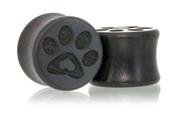 Puppy Love Paw Print Plugs - Gaboon Ebony