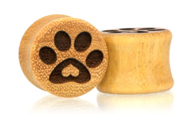 Puppy Love Paw Print Plugs - Osage Orange