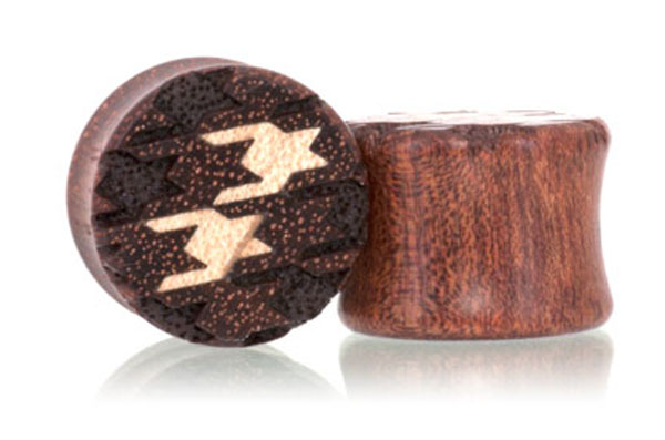 Houndstooth Pattern Plugs - Bloodwood