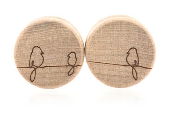 Birds On A Wire Plugs - Curly Maple