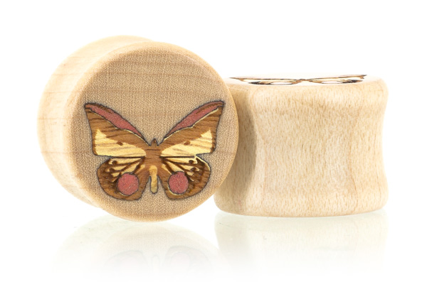 Butterfly Plugs - Curly Maple