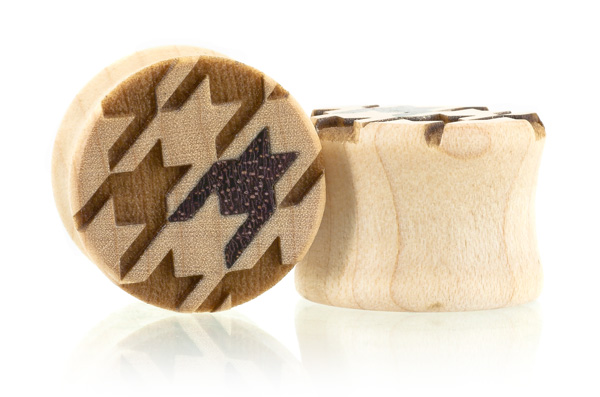 Houndstooth Pattern Plugs - Curly Maple