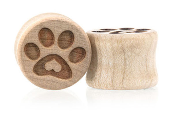 Puppy Love Paw Print Plugs - Curly Maple