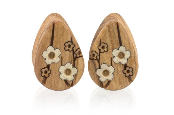 Cherry Blossom Teardrop Plugs - Olive