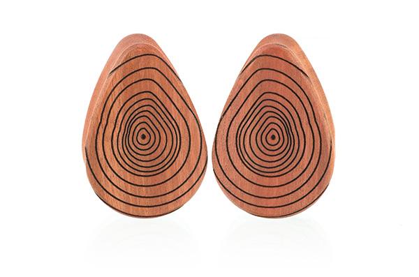 Growth Ring Teardrop Plugs - Pink Ivory
