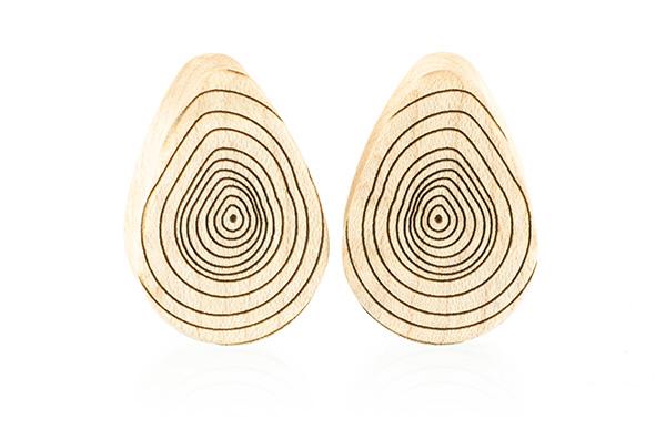 Growth Ring Teardrop Plugs - Maple