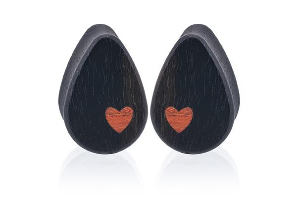 Side Heart Teardrop Plugs - Ebony