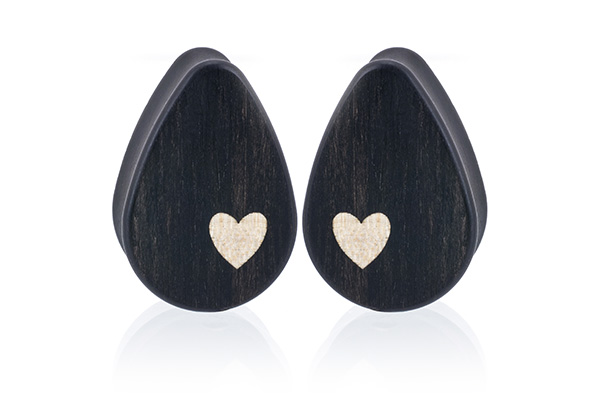 Side Heart Teardrop Plugs - Gaboon Ebony