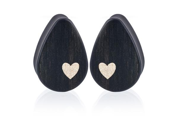 Side Heart Teardrop Plugs - Gaboon Ebony
